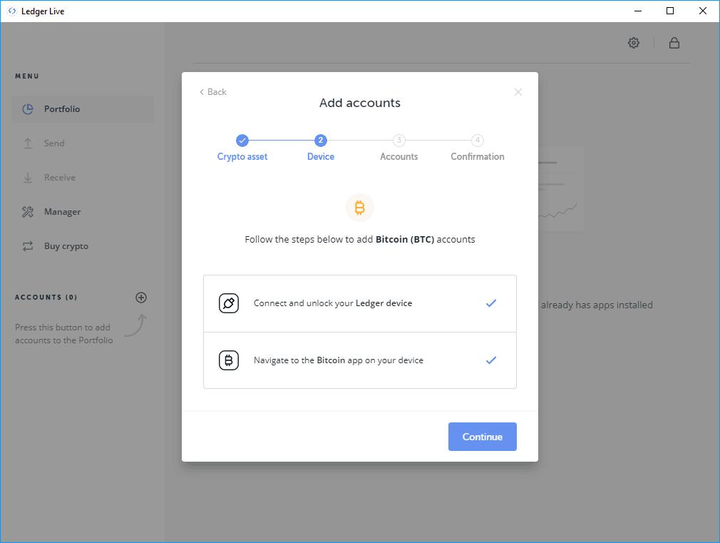 Ledger Live - Bitcoin Account erstellen
