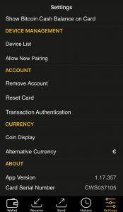 CoolBitX App - Einstellungen