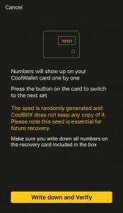 CoolBitX App - Recovery Seed Hinweis