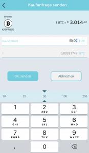 BISON App - Kaufanfrage Bitcoin