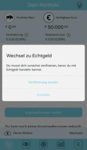 BISON App - Wechsel zu Echtgeld