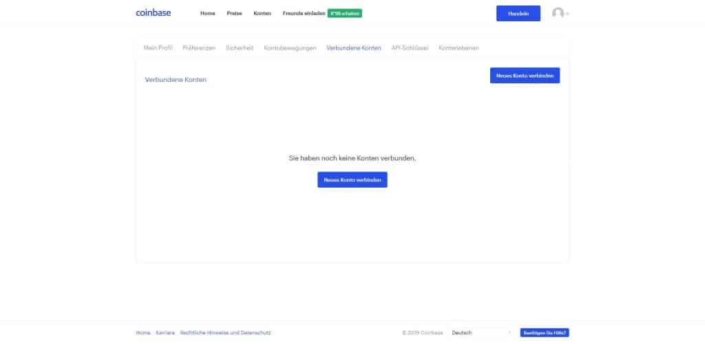 Coinbase - Neues Konto Verbinden