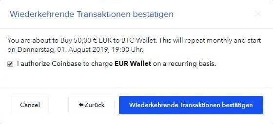 Coinbase - Wiederkehrende Transaktion bestätigen