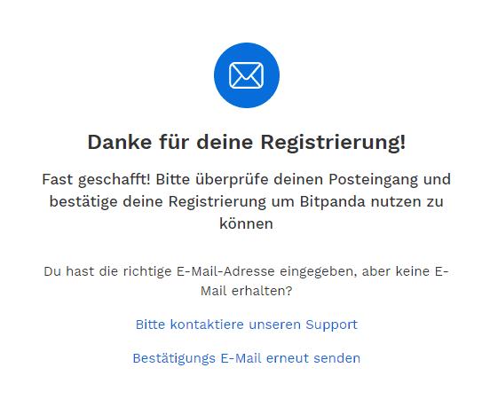Bitpanda - Bestätigung deiner Registrierung per E-Mail