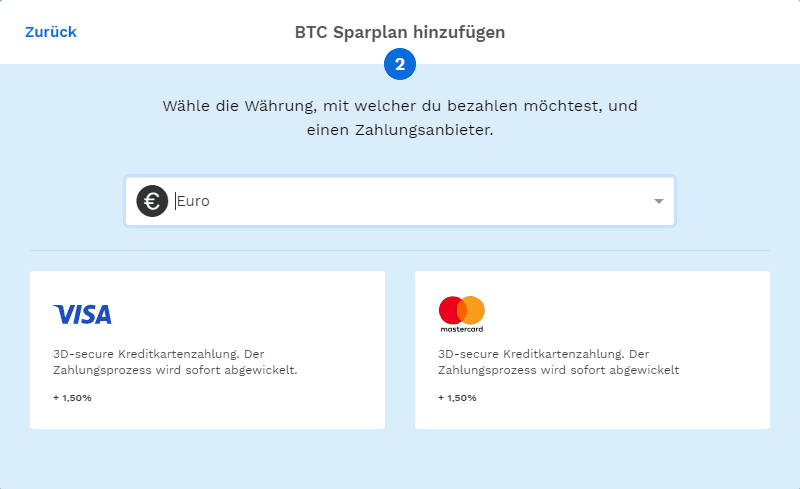 Bitpanda - Währung und Zahlungsanbieter auswählen