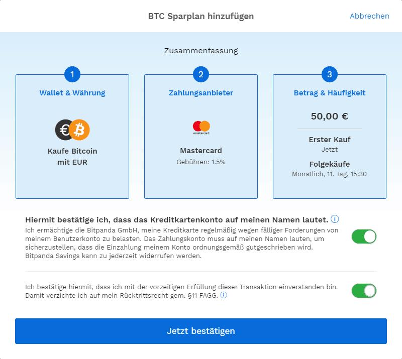 Bitpanda - BTC Sparplan Zusammenfassung
