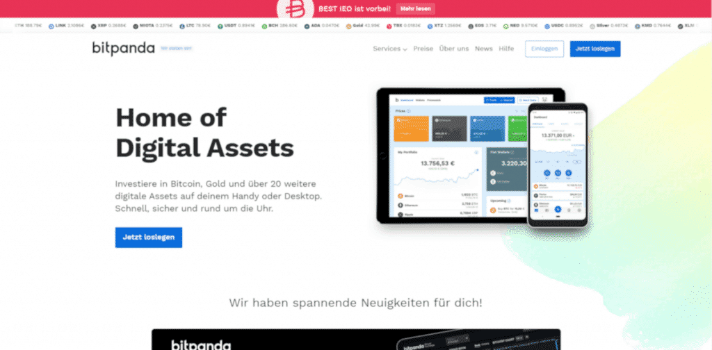 Bitpanda - Webseite