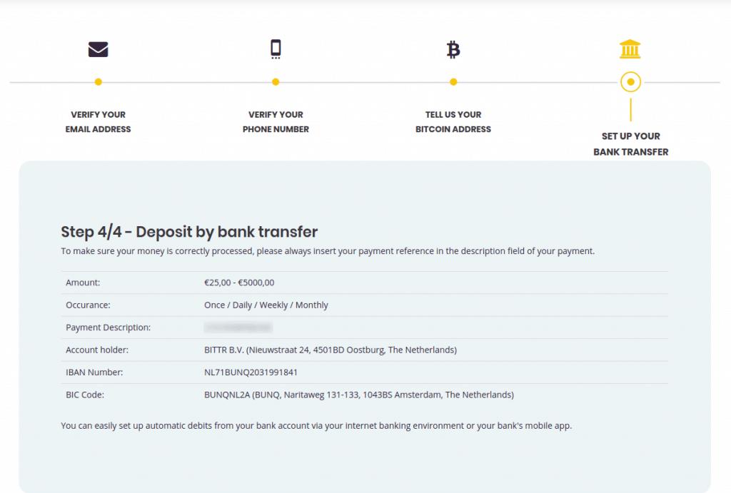 Bittr - Bankdaten für den Bitcoin Kauf per SEPA Dauerauftrag