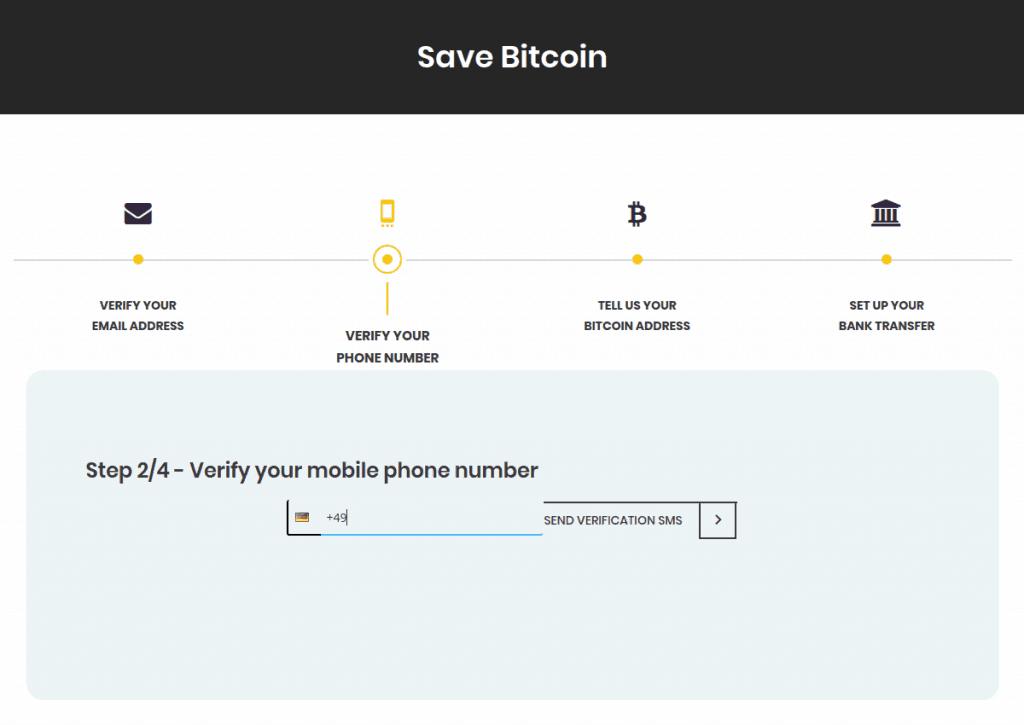 Bittr - Eingabe der Handynummer