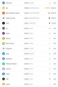 Coinbase - Liste der unterstützen Coins