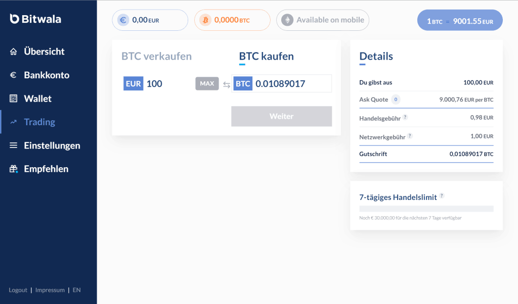 Bitcoin kaufen mit Bitwala