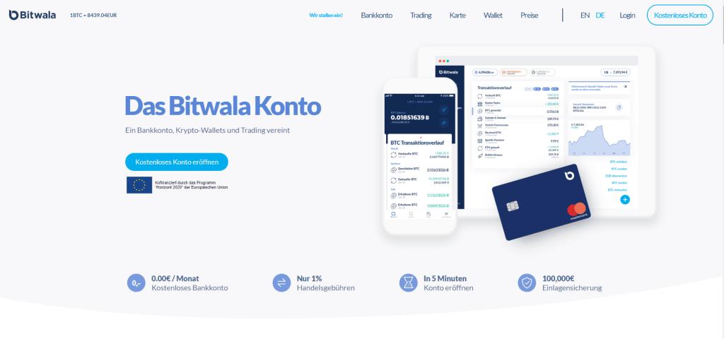 Bitwala - Bankkonto, Krypto Wallets und Trading