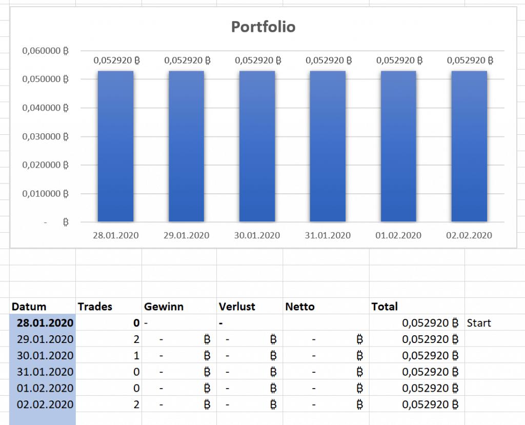 Portfolio Entwicklung der ersten Tage