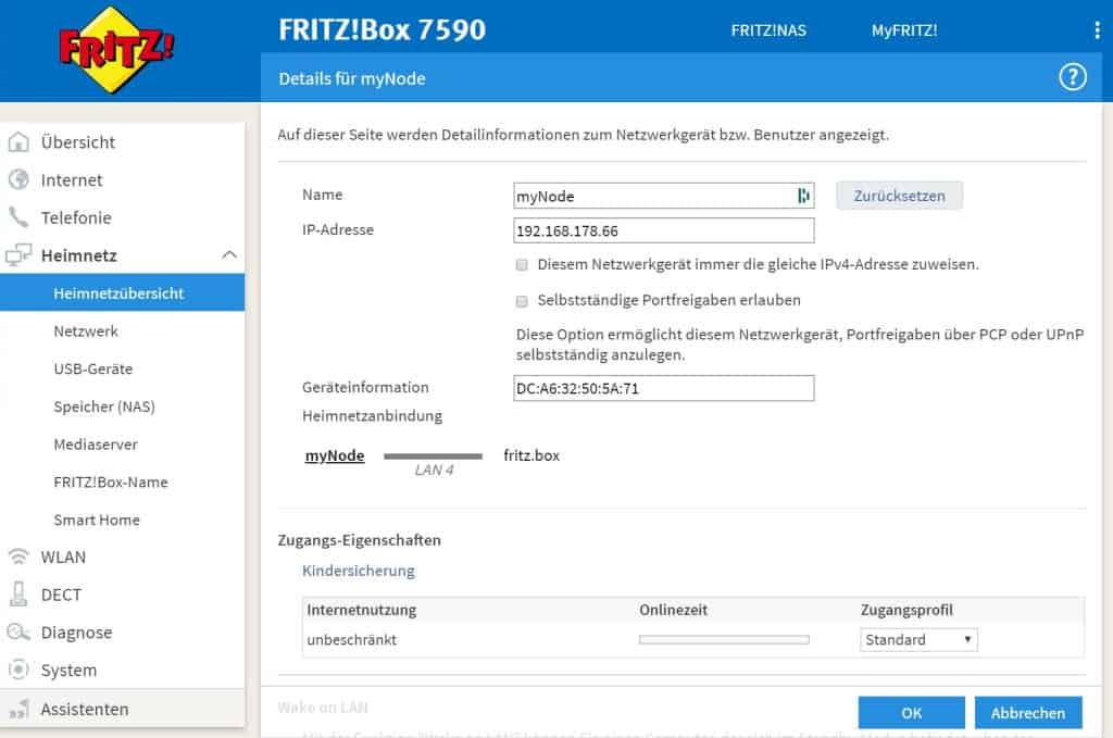 MyNode mit der FritzBox finden
