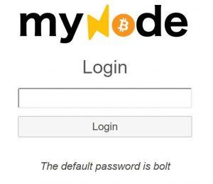 MyNode Login Screen