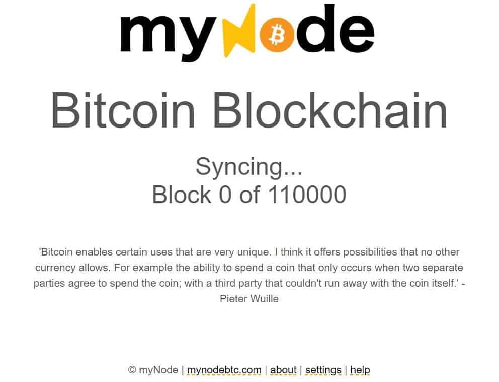 MyNode Blockchain Synchronisieren