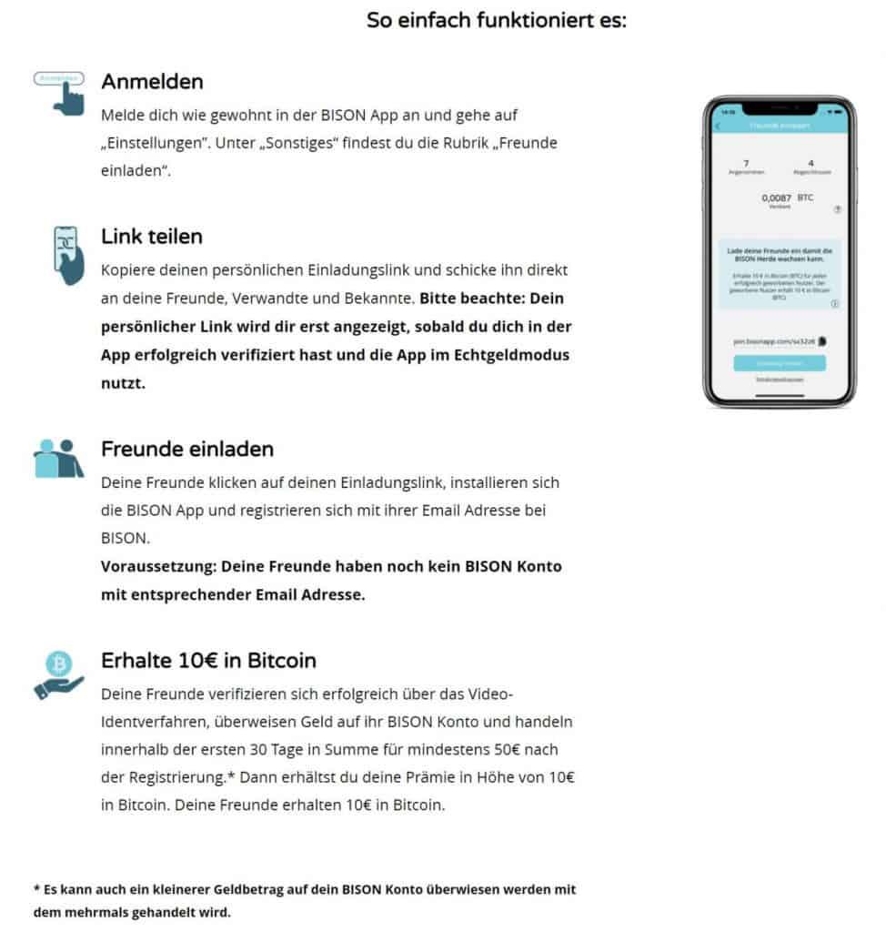 Bison App Freunde werben Programm