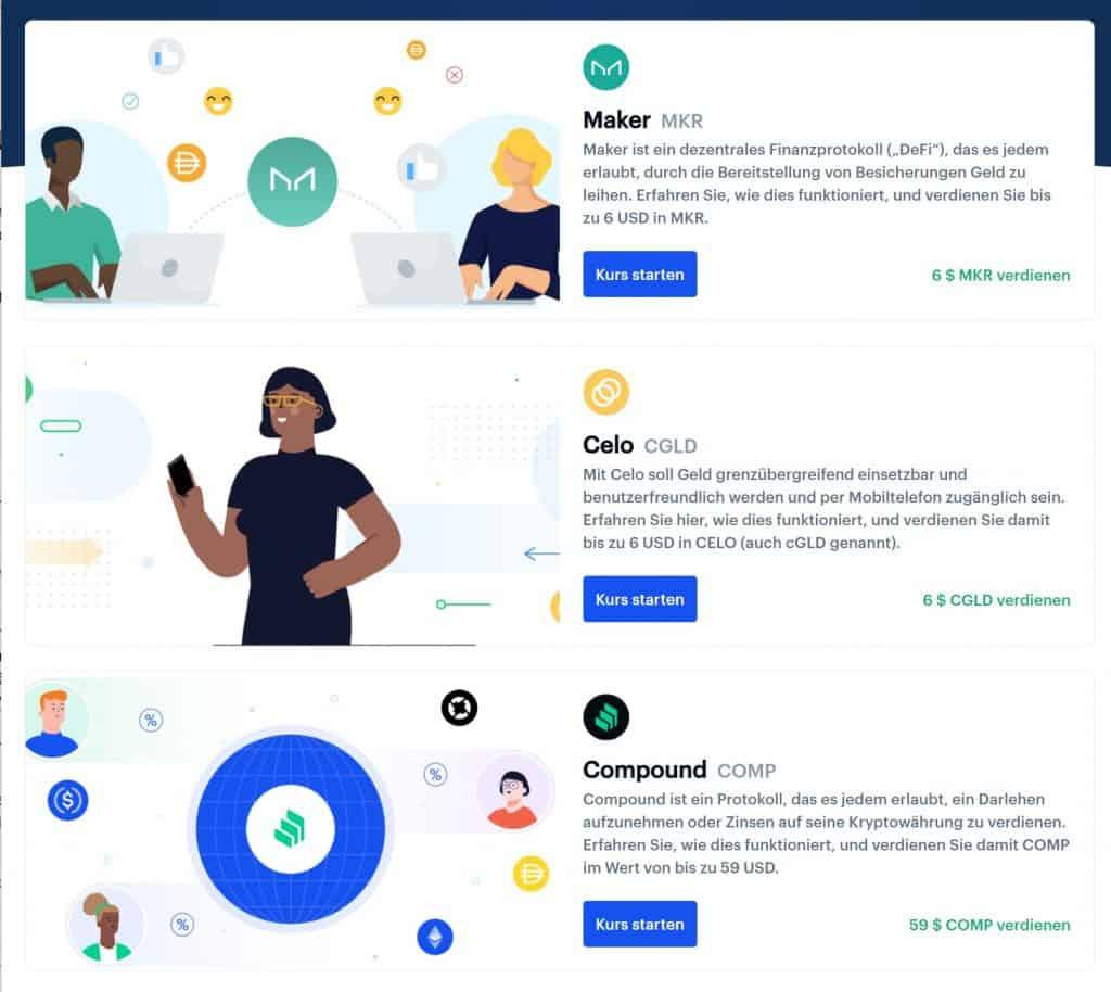 Coinbase Earn Projekte